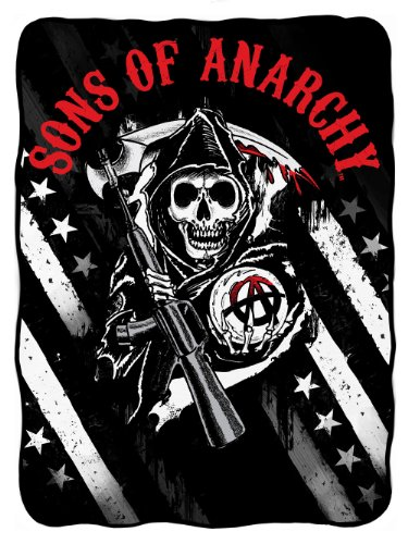 sons of anarchy logo with stars fleece sons of anarchy shop. Black Bedroom Furniture Sets. Home Design Ideas
