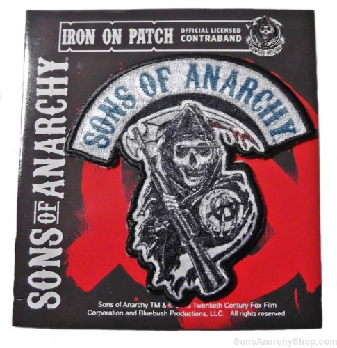 sons of anarchy reaper logo 3 tall embroidered patch. Black Bedroom Furniture Sets. Home Design Ideas