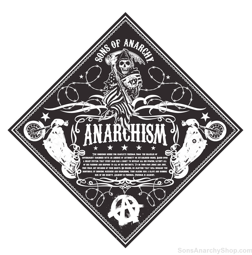 sons of anarchy anarchism bandana sons of anarchy shop. Black Bedroom Furniture Sets. Home Design Ideas