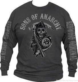 sons of anarchy charcoal mens long sleeves tee xlarge. Black Bedroom Furniture Sets. Home Design Ideas